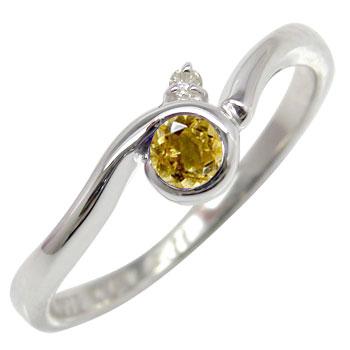 ピンキーリング シトリンリング ダイヤモンド 指輪 ホワイトゴールドk18 ダイヤ 18金 11月誕生石 ストレート 宝石 送料無料