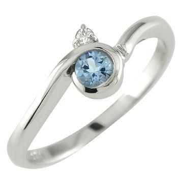 ピンキーリング サンタアクアマリンリング ダイヤモンド ホワイトゴールドk10指輪 k1010金 ダイヤ ストレート 宝石 送料無料