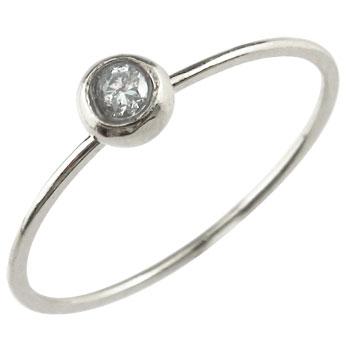 ピンキーリング リング ホワイトゴールドk18 一粒 指輪 華奢 重ね付け 18金 ストレート 送料無料