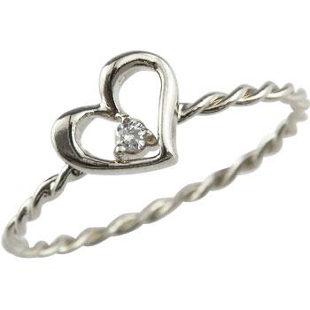 ピンキーリング リング ホワイトゴールドk18 一粒 指輪 華奢 重ね付け ハート 18金 送料無料v80ONnmw