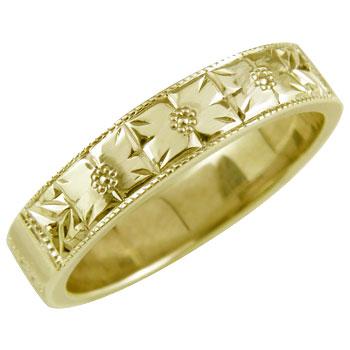 ピンキーリング 花 フラワー 指輪 手彫りリング 蓮花 イエローゴールドk18 18金 ストレート 送料無料