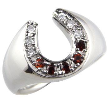 ピンキーリング 馬蹄 ダイヤモンド ガーネット 指輪 ホースシュー ダイヤ ホワイトゴールドk18 18金 1月誕生石 蹄鉄 ストレート バテイ 宝石 送料無料