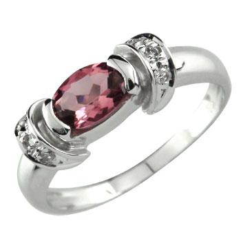 ピンキーリング 指輪 ピンクトルマリン 10月の誕生石 カラーストーン ダイヤモンド ホワイトゴールドk18 18金 ダイヤ ストレート 宝石 送料無料