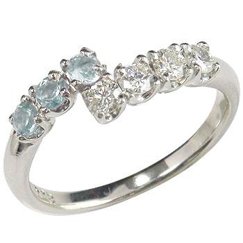 ピンキーリング アクアマリン ダイヤモンドリング 指輪 ホワイトゴールドk18 3月誕生石 18金 ダイヤ ストレート 送料無料