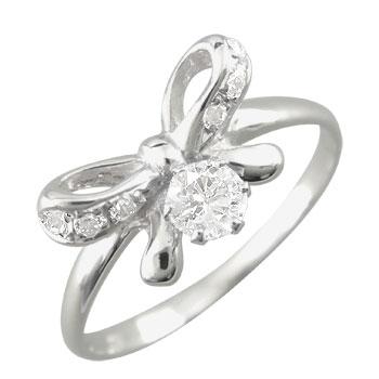 スワロフスキーキュービックジルコニア ピンキーリング リボン リング 指輪 シルバー925 ストレート 送料無料