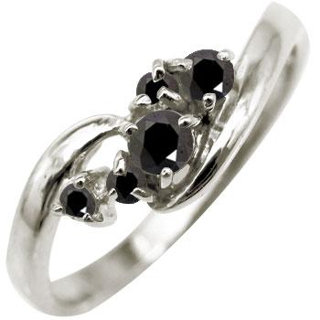 ピンキーリング プラチナリング ブラックダイヤモンド リング ダイヤ 指輪 ダイヤモンドリング ストレート 送料無料