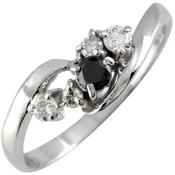 ピンキーリング ブラックダイヤモンドダイヤモンド リング ダイヤ 指輪 ホワイトゴールドk18 18金 ダイヤモンドリング ストレート 送料無料