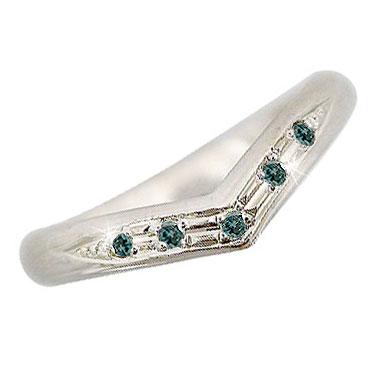 ピンキーリング ブルーダイヤモンド V字デザイン ダイヤ 指輪 ホワイトゴールドk18 18金 ダイヤモンドリング ウェーブリング 2.3 送料無料
