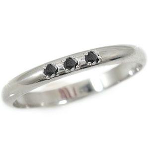ピンキーリング 指輪 ブラックダイヤモンド ホワイトゴールドk18 18金 ダイヤモンドリング ダイヤ ストレート 2.3 送料無料