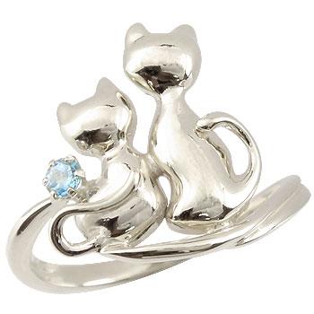 ピンキーリング 猫 プラチナ リング 指輪 ストレート 宝石 送料無料