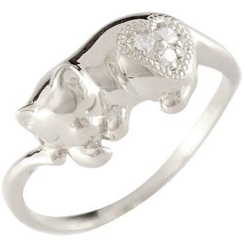 猫 キュービックジルコニア リング シルバー 指輪 ピンキーリング ストレート 送料無料