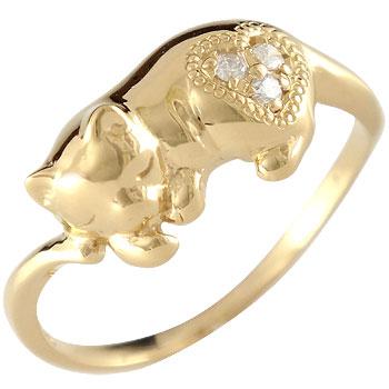 ピンキーリング 猫 ダイヤモンドリング 指輪 イエローゴールドk18 18金 ダイヤ 4月誕生石 ストレート 送料無料