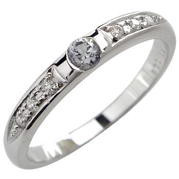 ピンキーリング アレキサンドライト ダイヤモンドリング 指輪 ホワイトゴールドk18 18金 ダイヤ 4月誕生石 ストレート 送料無料