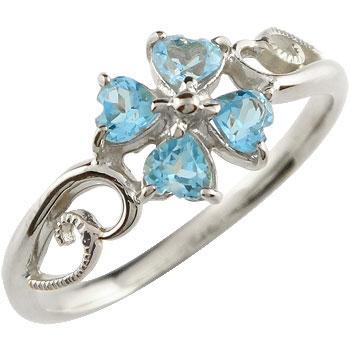 ピンキーリング クローバー 四葉 リング 指輪 ホワイトゴールドk18 18金 宝石 送料無料