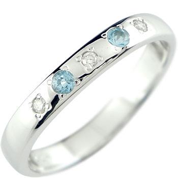 ピンキーリング トパーズ ブルートパーズリングダイヤモンド ホワイトゴールドk18指輪 18金 ダイヤ 11月誕生石 ストレート 宝石 送料無料