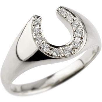 ピンキーリング 馬蹄 プラチナ ダイヤモンド 指輪 ホースシュー ダイヤ ダイヤモンドリング 蹄鉄 ストレート バテイ 送料無料