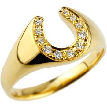 ピンキーリング 馬蹄 ダイヤモンド 指輪 ホースシュー ダイヤ イエローゴールドk18 18金 ダイヤモンドリング 蹄鉄 ストレート バテイ 送料無料