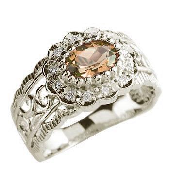 ピンキーリング リング スペサタイトガーネット ダイヤモンド 指輪 ホワイトゴールドk18 18金 ダイヤ 1月誕生石 ストレート 宝石 送料無料