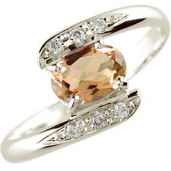 ピンキーリング スペサタイトガーネット ダイヤモンド ダイヤ リング 指輪 ホワイトゴールドk18 18金 1月誕生石 ストレート 宝石 送料無料