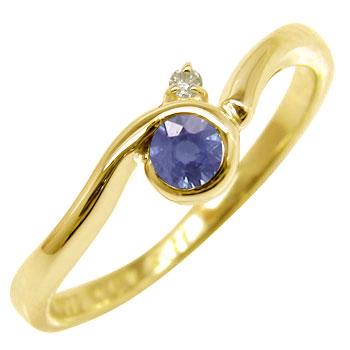 ピンキーリング アイオライト リング ダイヤモンド 指輪 イエローゴールドk10 10金 ダイヤ ストレート 宝石 送料無料