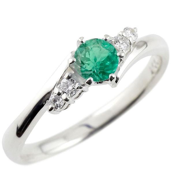 プラチナリング エメラルド ダイヤモンド リング 指輪 一粒 大粒 pt900 ストレート エンゲージリング 婚約指輪 宝石 送料無料