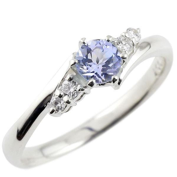 タンザナイト ダイヤモンド リング 指輪 一粒 大粒 ホワイトゴールドk10 ストレート エンゲージリング 婚約指輪 10金 宝石 送料無料