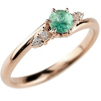エメラルド ダイヤモンド リング 指輪 一粒 大粒 ピンクゴールドK18 ストレート エンゲージリング 婚約指輪 18金 宝石 送料無料