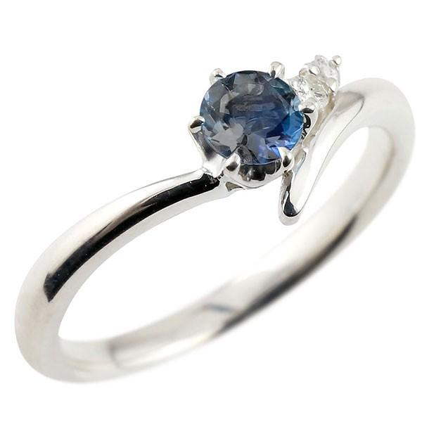 ブルーサファイア ホワイトゴールドk10リング ダイヤモンド 指輪 ピンキーリング 一粒 大粒 k10 レディース 9月誕生石 宝石 送料無料