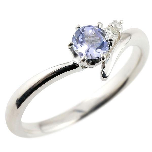 タンザナイト ホワイトゴールドk18リング ダイヤモンド 指輪 ピンキーリング 一粒 大粒 k18 レディース 12月誕生石 宝石 送料無料