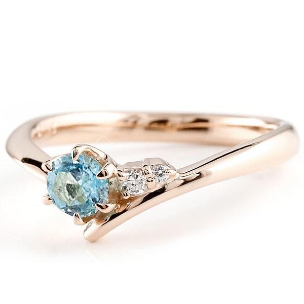 ブルートパーズ ピンクゴールドk18リング ダイヤモンド 指輪 ピンキーリング 一粒 大粒 k18 レディース 11月誕生石 宝石 送料無料