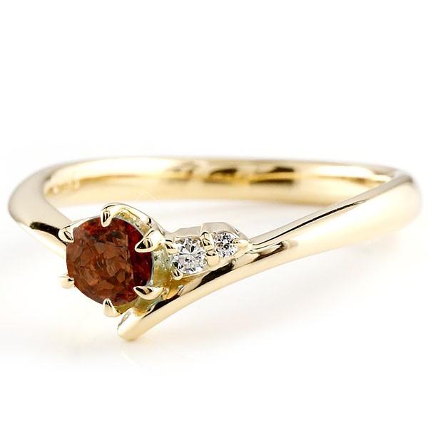 ガーネット イエローゴールドk10リング ダイヤモンド 指輪 ピンキーリング 一粒 大粒 k10 レディース 1月誕生石 宝石 送料無料