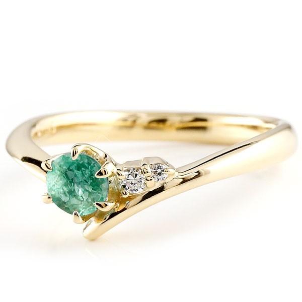 エメラルド イエローゴールドk18リング ダイヤモンド 指輪 ピンキーリング 一粒 大粒 k18 レディース 5月誕生石 宝石 送料無料