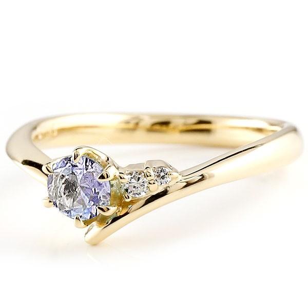 タンザナイト イエローゴールドk10リング ダイヤモンド 指輪 ピンキーリング 一粒 大粒 k10 レディース 12月誕生石 宝石 送料無料