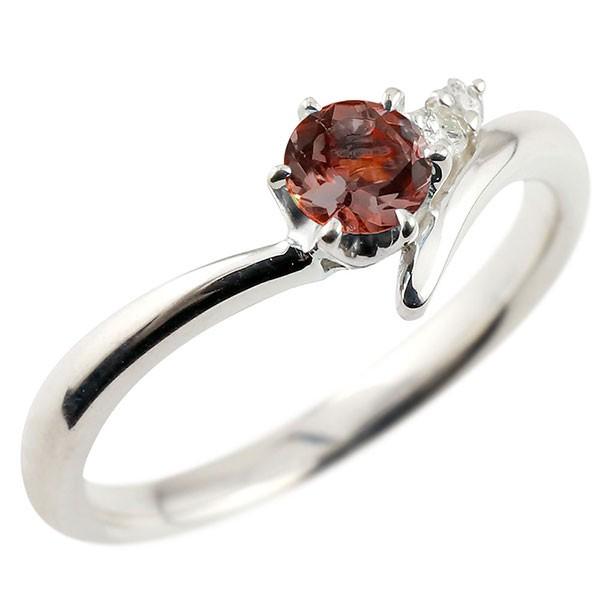 ガーネット ホワイトゴールドk10リング ダイヤモンド 指輪 ピンキーリング 一粒 大粒 k10 レディース 1月誕生石 宝石 送料無料