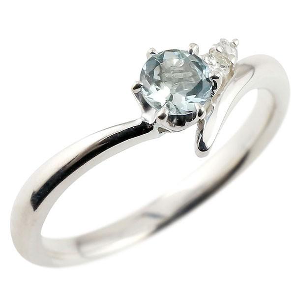 アクアマリン ホワイトゴールドk10リング ダイヤモンド 指輪 ピンキーリング 一粒 大粒 k10 レディース 3月誕生石 宝石 送料無料