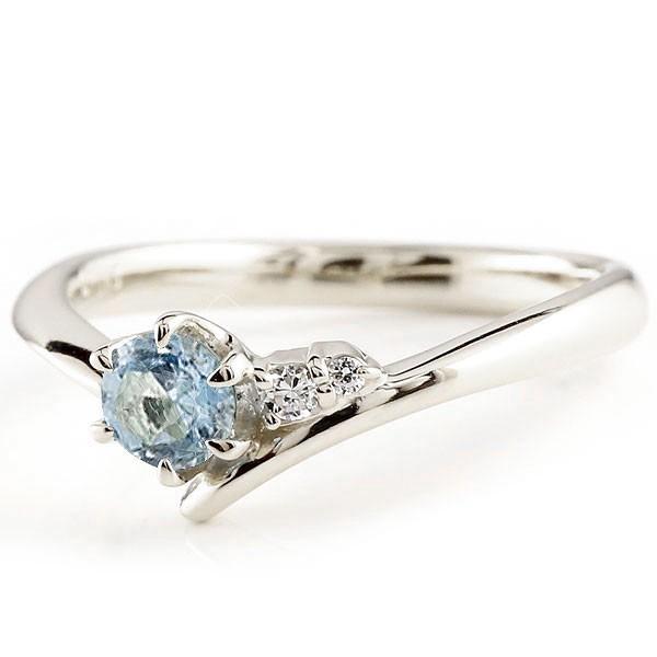サンタアクアマリン プラチナリング ダイヤモンド 指輪 ピンキーリング 一粒 大粒 pt900 レディース 3月誕生石 宝石 送料無料