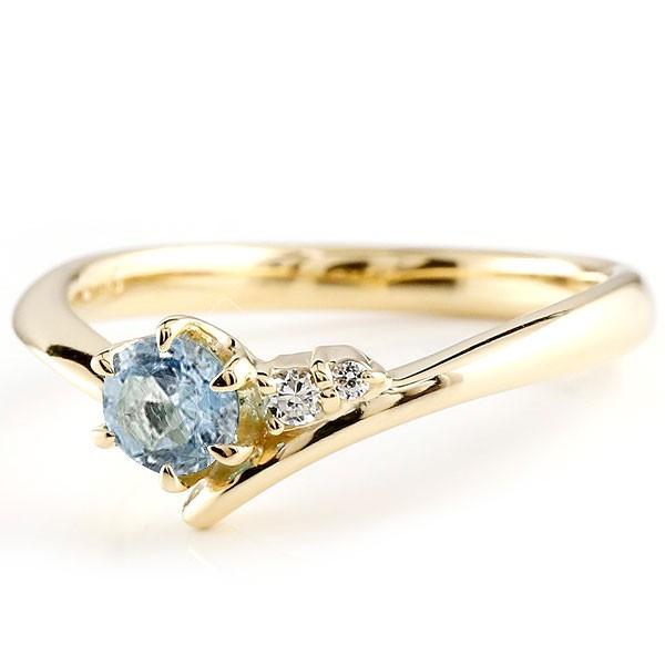 サンタアクアマリン イエローゴールドk18リング ダイヤモンド 指輪 ピンキーリング 一粒 大粒 k18 レディース 3月誕生石 宝石 送料無料