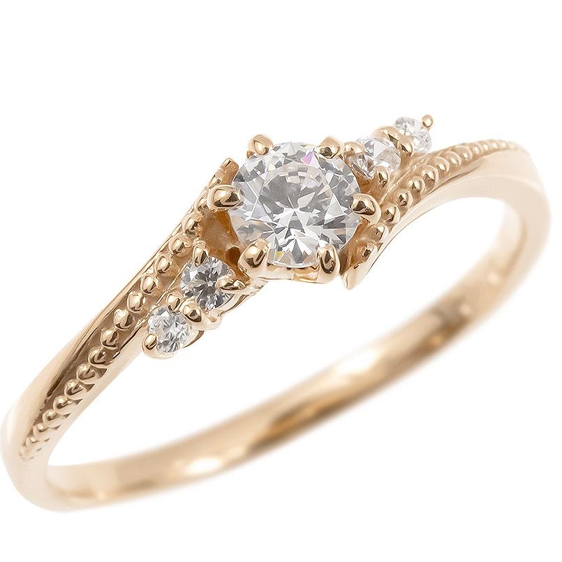 18金 リング ダイヤモンド 一粒 レディース 指輪 18k ピンクゴールドk18 ゴールド 婚約指輪 ピンキーリング 大粒 ミル打ち 女性 送料無料