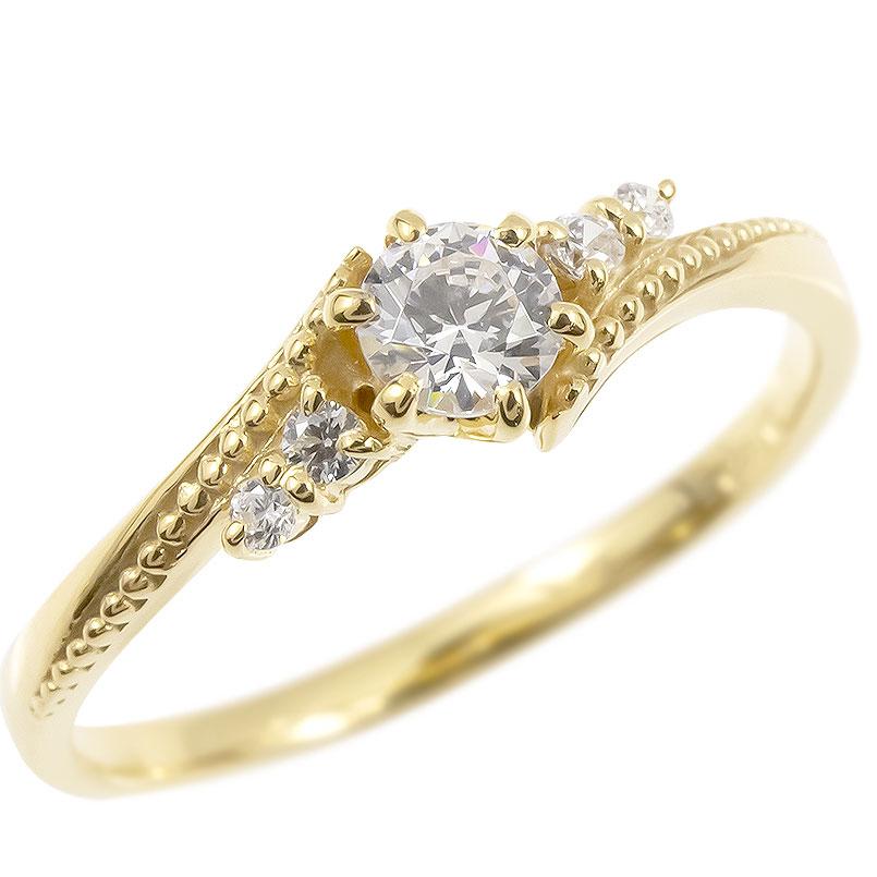 ゴールド リング ダイヤモンド 一粒 レディース 指輪 10k イエローゴールドk10 婚約指輪 ピンキーリング 大粒 ミル打ち 女性 送料無料
