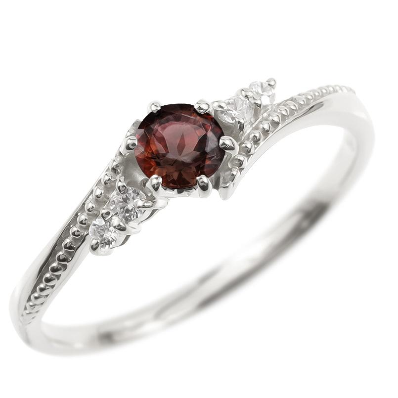 リング ダイヤモンド ガーネット 一粒 レディース 指輪 シルバー925 sv925 婚約指輪 ピンキーリング 大粒 ミル打ち 女性 送料無料