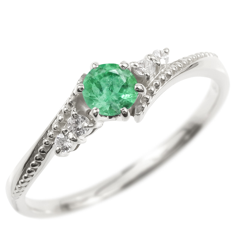 18金 リング ダイヤモンド エメラルド 一粒 レディース 指輪 18k ホワイトゴールドk18 ゴールド 婚約指輪 ピンキーリング 大粒 ミル打ち 女性 送料無料