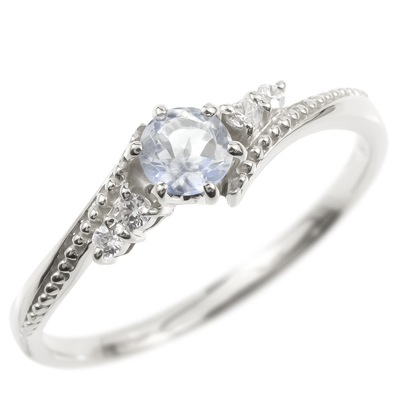 ゴールド リング ダイヤモンド ブルームーンストーン 一粒 レディース 指輪 10k ホワイトゴールドk10 婚約指輪 ピンキーリング 大粒 ミル打ち 送料無料