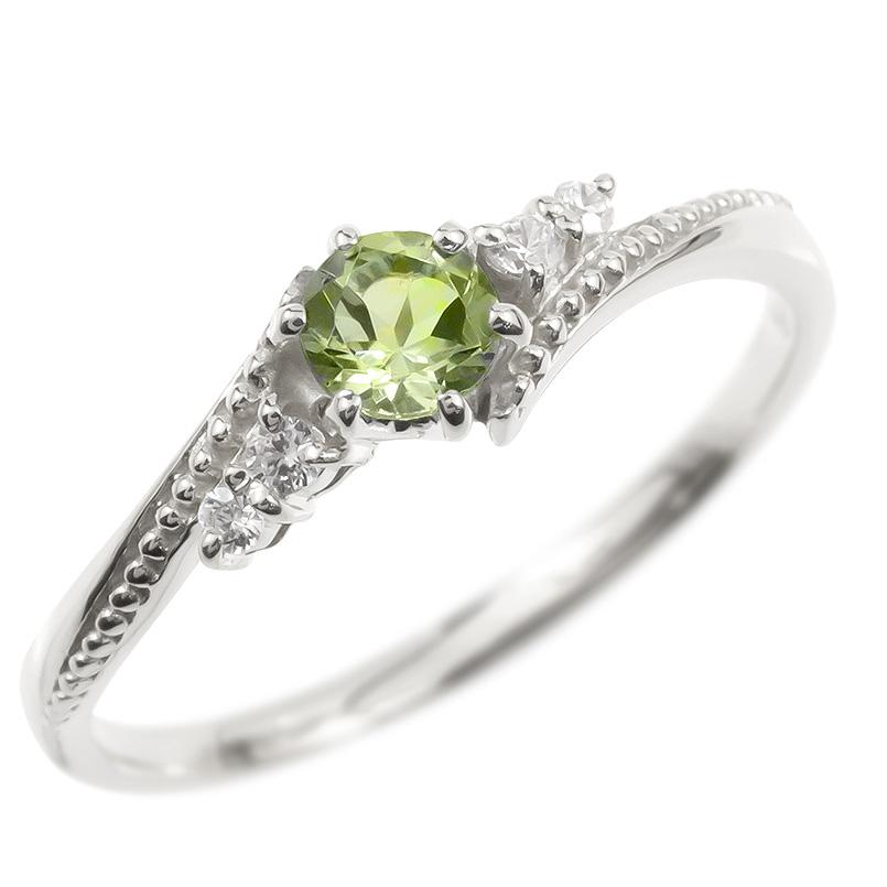 ゴールド リング ダイヤモンド ペリドット 一粒 レディース 指輪 10k ホワイトゴールドk10 婚約指輪 ピンキーリング 大粒 ミル打ち 女性 送料無料