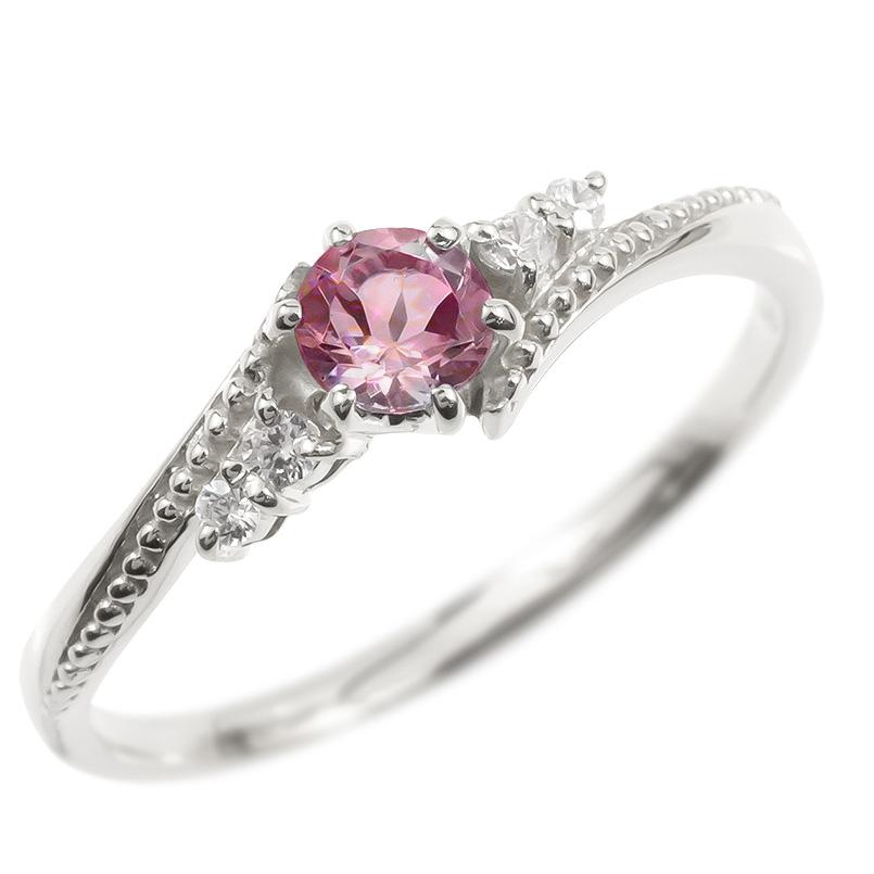 婚約指輪 ゴールド リング ダイヤモンド ピンクトルマリン 一粒 レディース 指輪 10k ホワイトゴールドk10 エンゲージリング 大粒 ミル打ち 女性 送料無料
