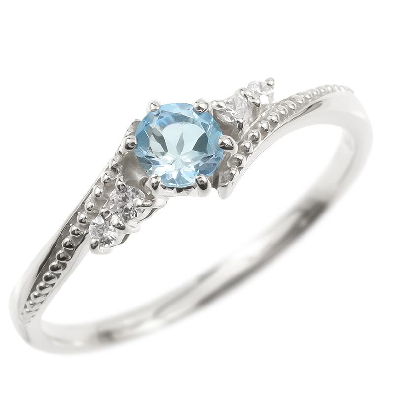 18金 リング ダイヤモンド ブルートパーズ 一粒 レディース 指輪 18k ホワイトゴールドk18 ゴールド 婚約指輪 ピンキーリング 大粒 ミル打ち 送料無料