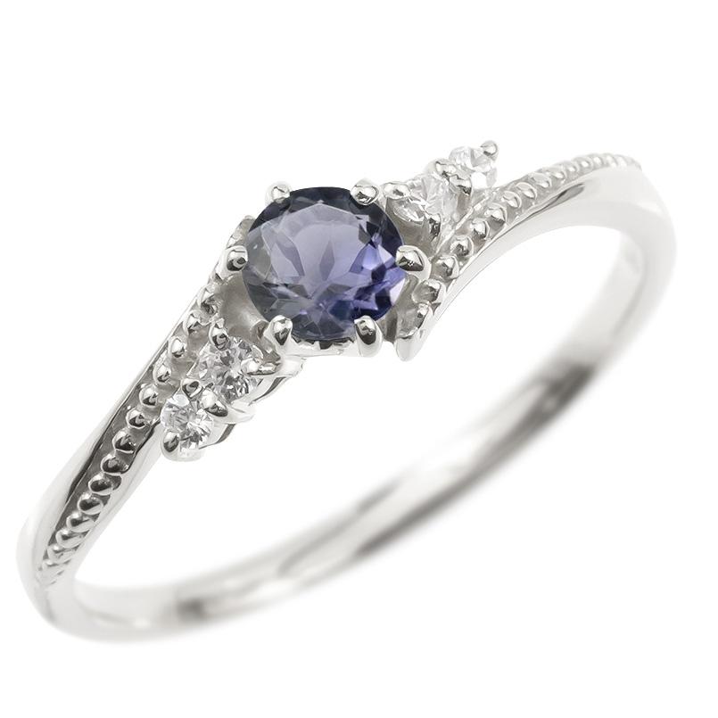 リング ダイヤモンド アイオライト 一粒 レディース 指輪 シルバー925 sv925 婚約指輪 ピンキーリング 大粒 ミル打ち 女性 送料無料