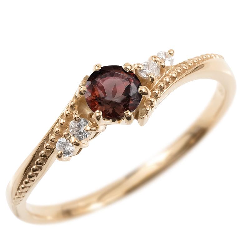 18金 リング ダイヤモンド ガーネット 一粒 レディース 指輪 18k ピンクゴールドk18 ゴールド 婚約指輪 ピンキーリング 大粒 ミル打ち 女性 送料無料