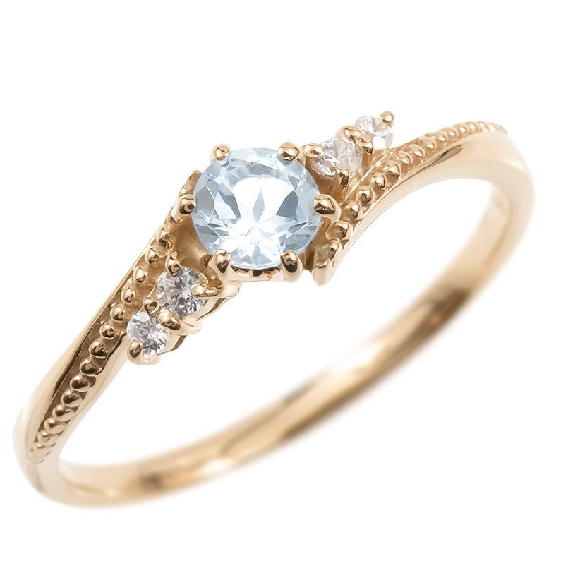 婚約指輪 18金 リング ダイヤモンド アクアマリン 一粒 レディース 指輪 18k ピンクゴールドk18 ゴールド エンゲージリング 大粒 ミル打ち 女性 送料無料