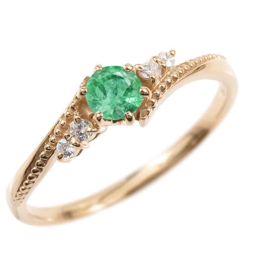 ゴールド リング ダイヤモンド エメラルド 一粒 レディース 指輪 10k ピンクゴールドk10 婚約指輪 ピンキーリング 大粒 ミル打ち 女性 送料無料