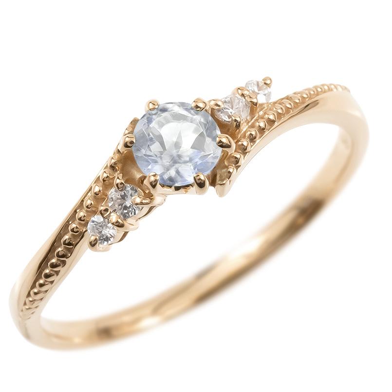18金 リング ダイヤモンド ブルームーンストーン 一粒 レディース 指輪 18k ピンクゴールドk18 ゴールド 婚約指輪 ピンキーリング 大粒 ミル打ち 送料無料